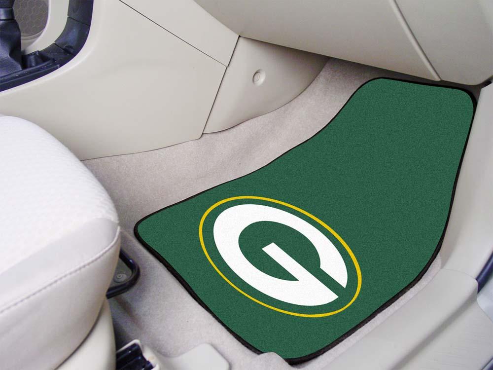 """Green Bay Packers 27"""" x 18"""" Auto Floor Mat (Set of 2 Car Mats)"""