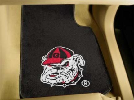 """Georgia Bulldogs """"Bulldog"""" 27"""" x 18"""" Auto Floor Mat (Set of 2 Car Mats) (Black)"""