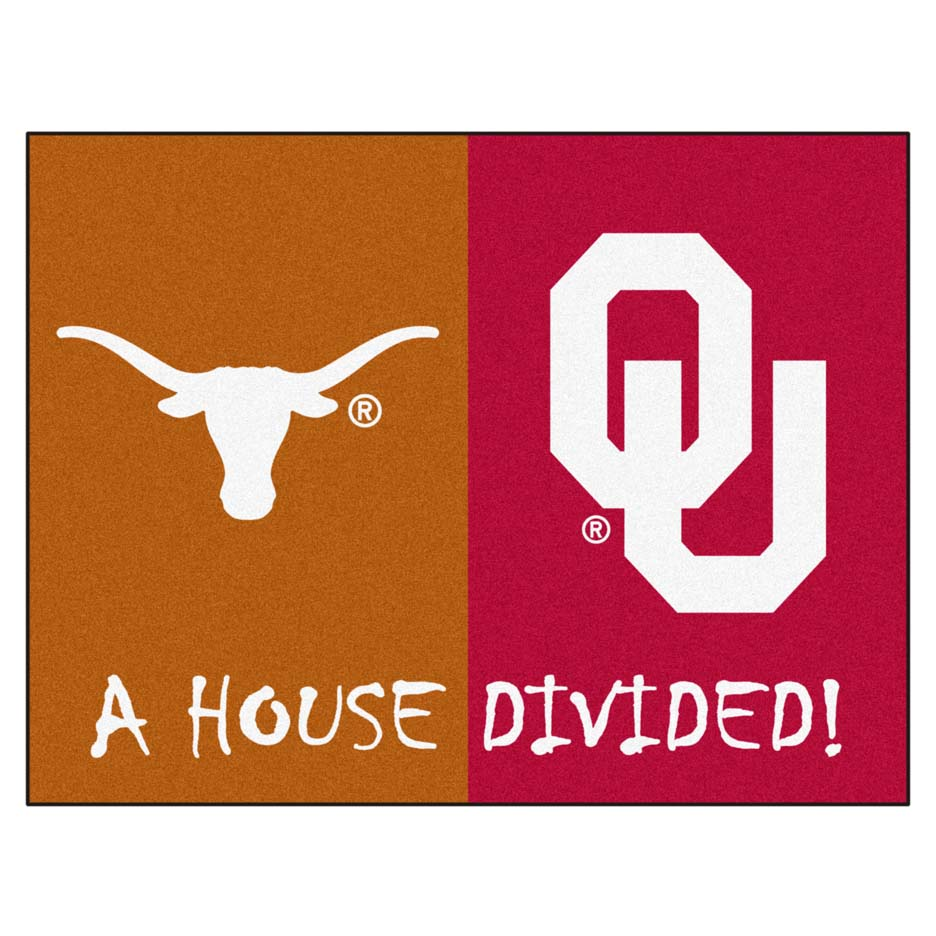 "Texas Longhorns and Oklahoma Sooners 34"" x 45"" House Divided Mat"