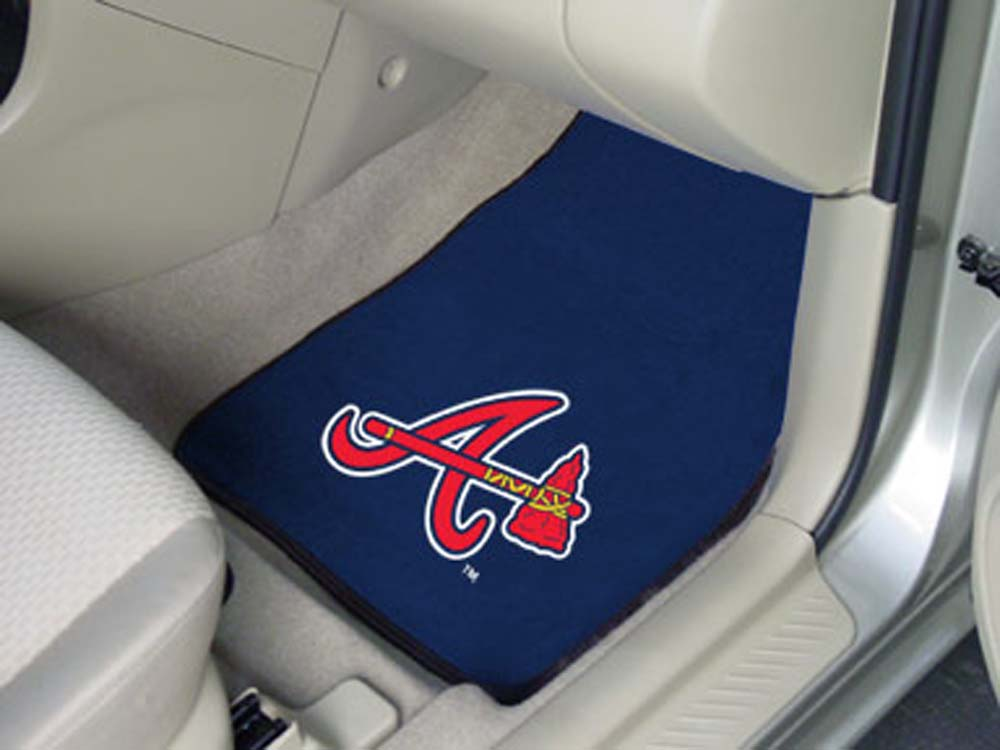 Atlanta Braves 27in x 18in Auto Floor Mat (Set of 2 Car Mats)