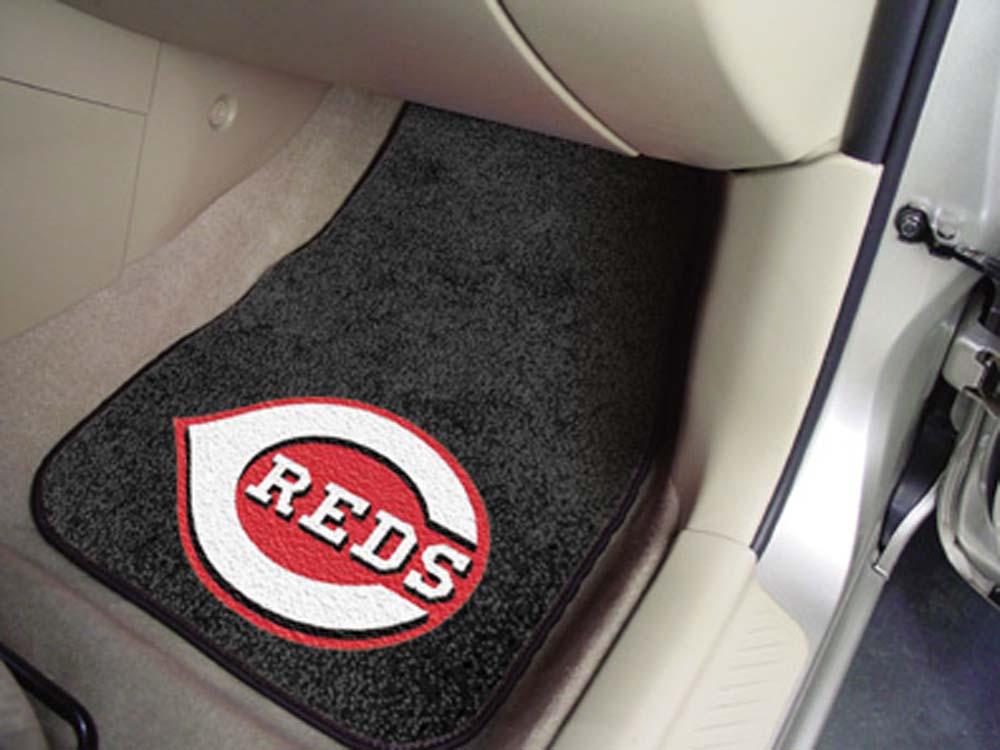 Cincinnati Reds 27in x 18in Auto Floor Mat (Set of 2 Car Mats)