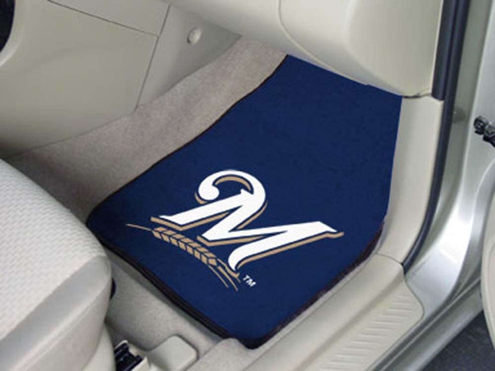 Milwaukee Brewers 27in x 18in Auto Floor Mat (Set of 2 Car Mats)