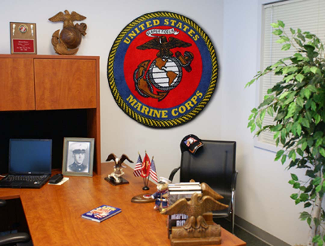 """US Marines 44"""" Round Area Rug"""