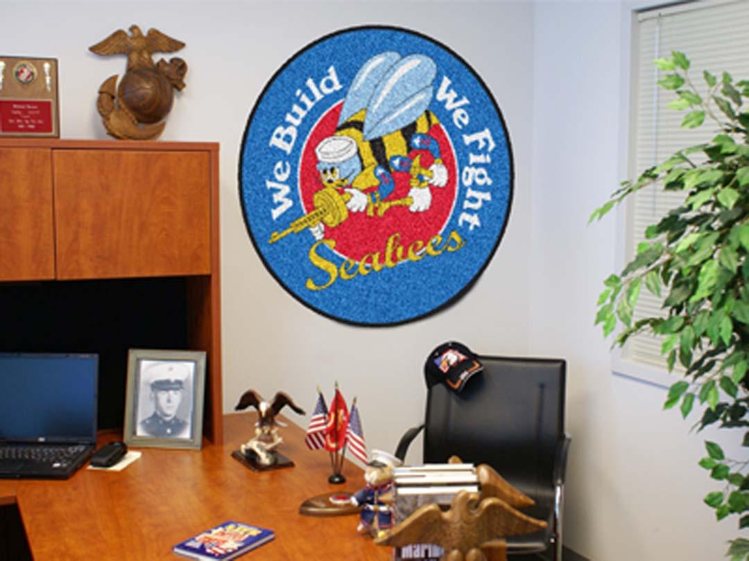 "US Navy Seabees 44"" Round Area Rug"
