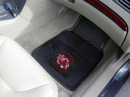 South Carolina Gamecocks 18in x 27in Heavy Duty 2-Piece Vinyl Car Mat Set