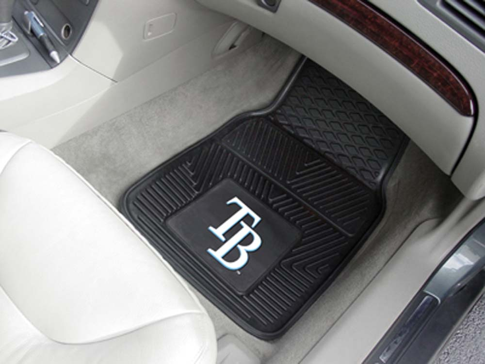 Tampa Bay Rays 18in x 27in Heavy Duty 2-Piece Vinyl Car Mat Set