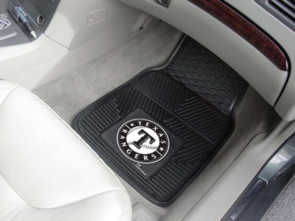 Texas Rangers 18in x 27in Heavy Duty 2-Piece Vinyl Car Mat Set