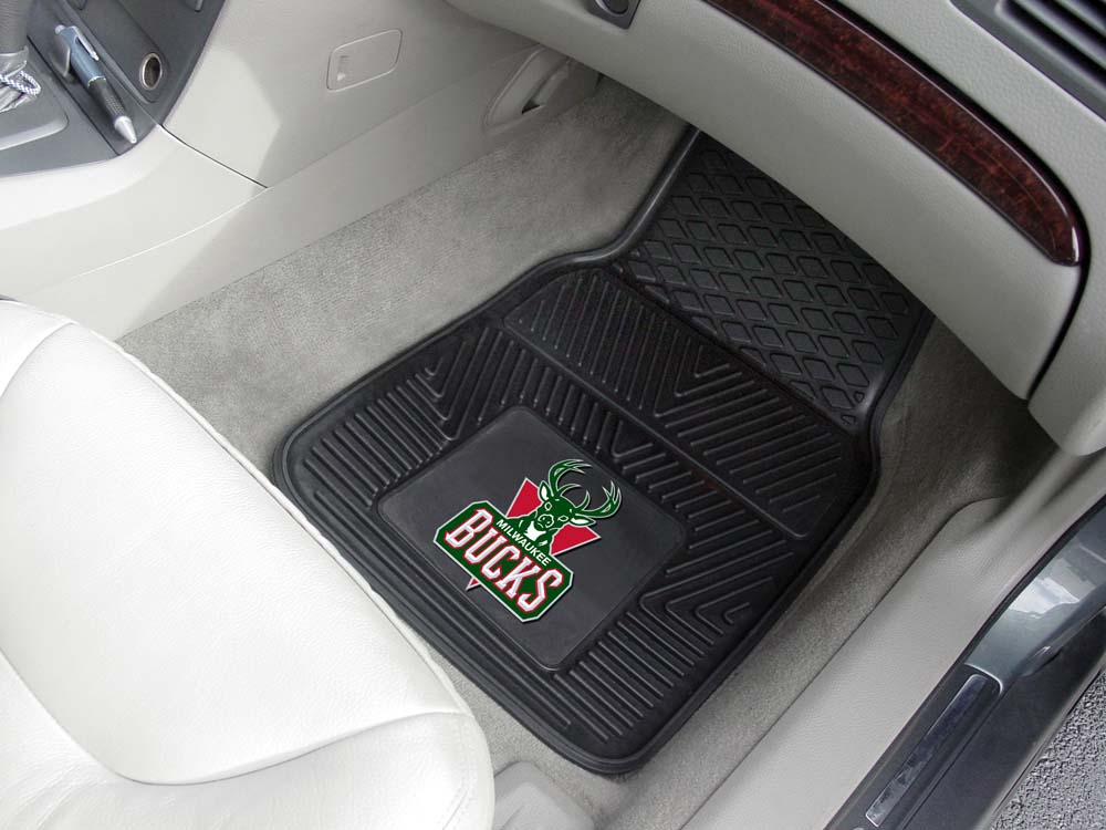 "Milwaukee Bucks 18"" x 27"" Heavy Duty Vinyl Auto Floor Mat (Set of 2 Car Mats)"