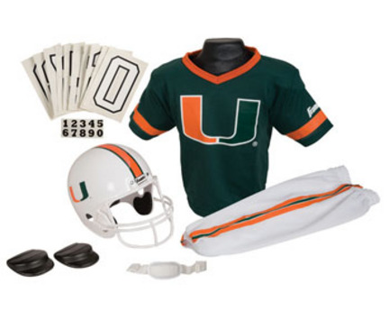 Franklin Miami Hurricanes DELUXE Youth Helmet and Football Uniform Set (Small)