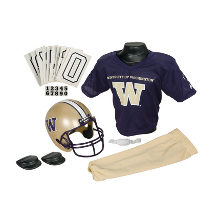 Franklin Washington Huskies DELUXE Youth Helmet and Football Uniform Set (Small)