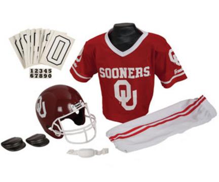 Franklin Oklahoma Sooners DELUXE Youth Helmet and Football Uniform Set (Medium)