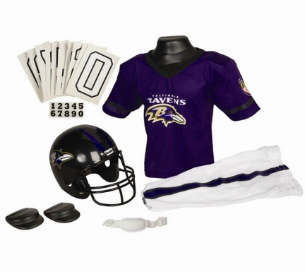 Franklin Baltimore Ravens DELUXE Youth Helmet and Football Uniform Set (Small)