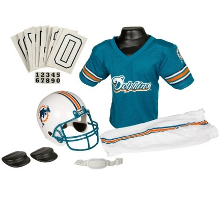 Franklin Miami Dolphins DELUXE Youth Helmet and Football Uniform Set (Small)