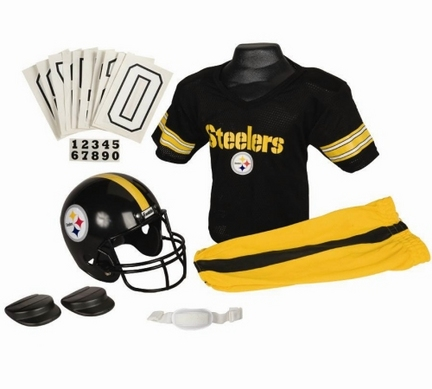 Franklin Pittsburgh Steelers DELUXE Youth Helmet and Football Uniform Set (Small)
