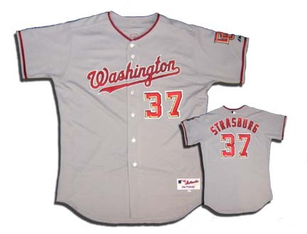 Stephen Strasburg Washington Nationals #37 Authentic Majestic Athletic Cool Base MLB Baseball Jersey (Road Gray, Size 52