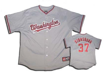 Stephen Strasburg Washington Nationals #37 Replica Majestic Athletic Mlb Baseball Jersey (gray)