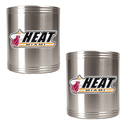 Miami Heat 2 Piece Stainless Steel Can Holder Set (with