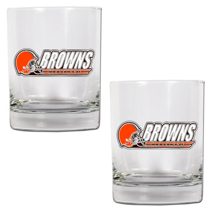 "Cleveland Browns 2 Piece Rocks Glass Set (with """"Browns"""")"" GAP-GDRGDR2004-14"
