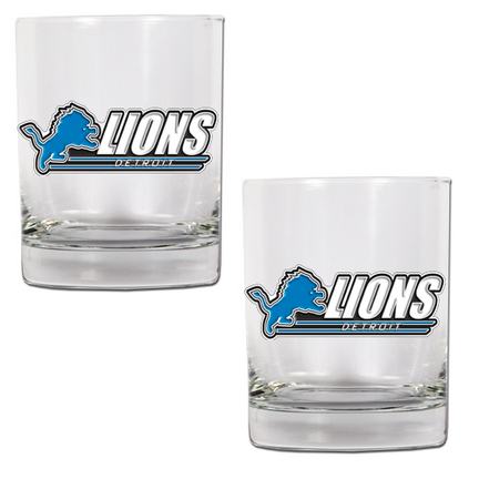 "Image of Detroit Lions 2 Piece Rocks Glass Set (with ""Lions"")"