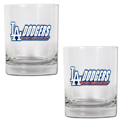 "Los Angeles Dodgers 2 Piece Rocks Glass Set (with ""Dodgers"")"