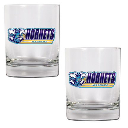 """New Orleans Hornets 2 Piece Rocks Glass Set (with """"Hornets"""")"""