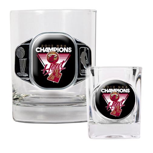 Miami Heat 2012 NBA Champions Rocks Glass and Shot Glass Set GAP-GDRGSSC-NBA12MH