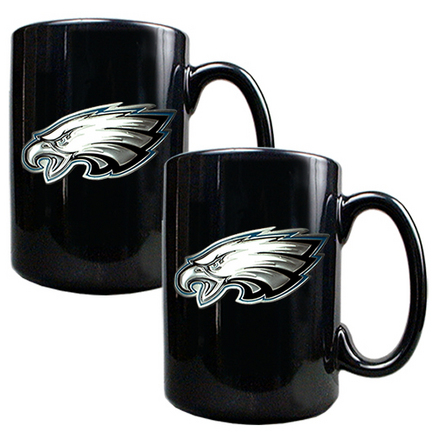 Philadelphia Eagles 2 Piece Black Ceramic Mug Set