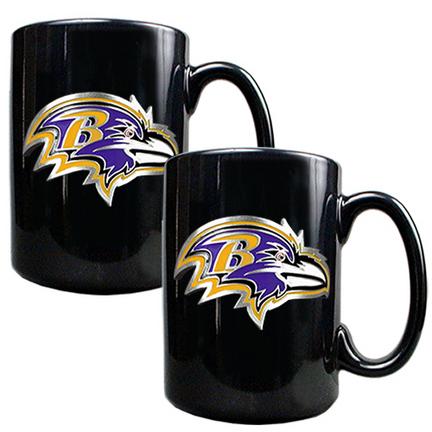 Baltimore Ravens 2 Piece Black Ceramic Mug Set
