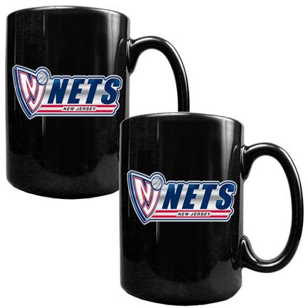 New Jersey Nets 2 Piece Black Ceramic Mug Set (with