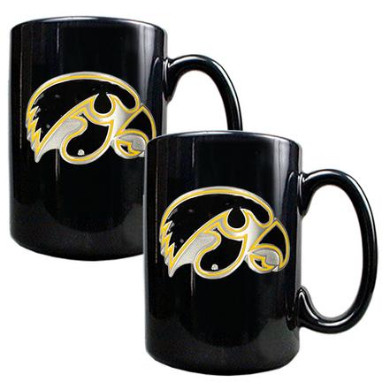 Iowa Hawkeyes 2 Piece Black Ceramic Mug Set