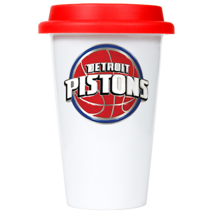 Detroit Pistons 12 oz. Double Wall Tumbler with Red Silicone Lid