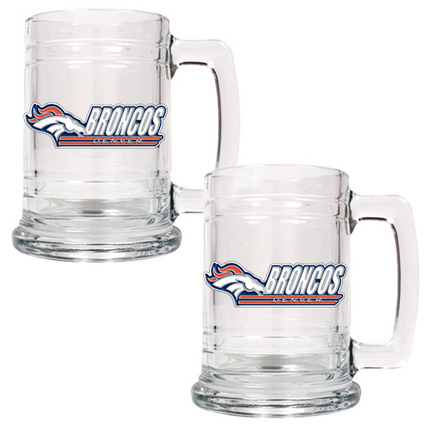 "Denver Broncos 2 Piece 15 oz. Glass Tankard Set (with ""Broncos"")"
