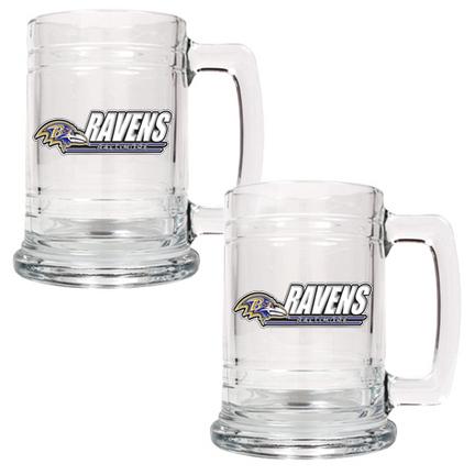 Baltimore Ravens 2 Piece 15 oz. Glass Tankard Set (with