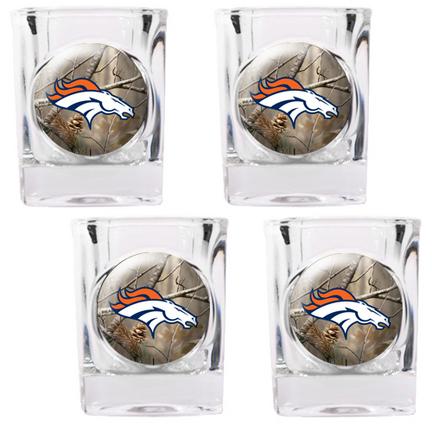 "Denver Broncos ""Open Field"" 4 Piece Square Shot Glass Set"