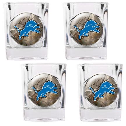 """Image of Detroit Lions """"Open Field"""" 4 Piece Square Shot Glass Set"""