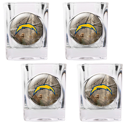 """San Diego Chargers """"""""Open Field"""""""" 4 Piece Square Shot Glass Set"""" GAP-RTGSSCPK2024-35"""