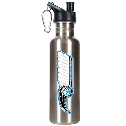 Orlando Magic 26 oz. Stainless Steel Water Bottle with Pop Up Spout (Silver)