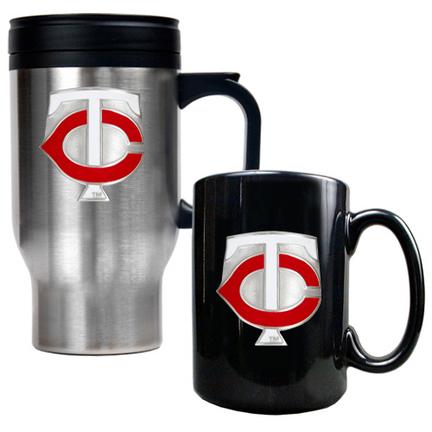 Minnesota Twins Stainless Steel Travel Mug and Black Ceramic Mug Set