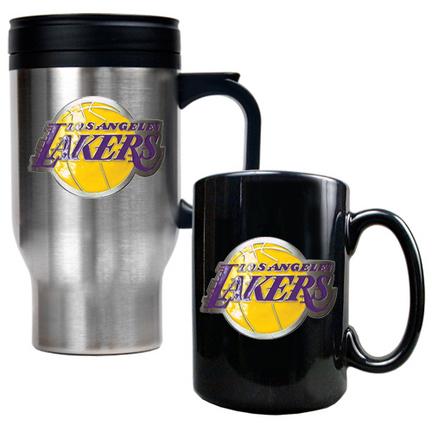 Los Angeles Lakers Stainless Steel Travel Mug and Black Ceramic Mug Set