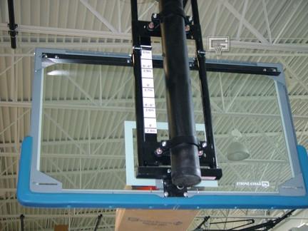 "Electric Single Post Adjust-A-Goal for 6 5/8"" Diameter Single Posts (Rectangular or Fan-Shaped Backboards)"