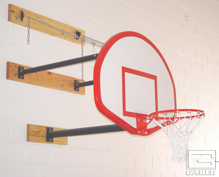 Three-Point Wall Mount Series with 9-12' Foot Extension for Rectangular Board and Adjust-a-Goal