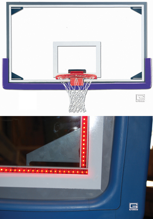 "42"" x 72"" Regulation Glass Basketball Backboard with Aluminum Frame and Perimeter LED Light System"