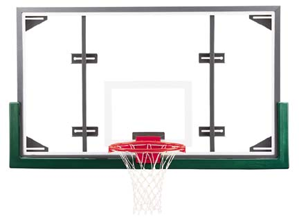 "42"" x 72"" Rectangular Steel Frame Glass Conversion Basketball Backboard with Adapter Kit"