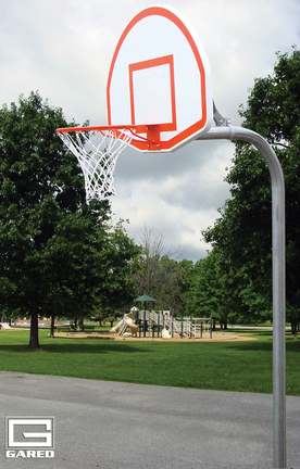 """4 1/2"""" O.D. Braced Rear Mount Gooseneck Post with 4' Extension, Basketball Backboard and Goal"""