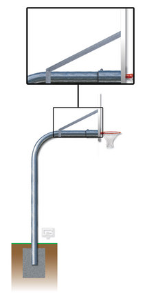 """Braces and Hardware for 5 9/16"""" Gooseneck Basketball Posts"""