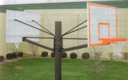 """Endurance Dual Playground Basketball System with 42"""" x 60"""" Steel Backboards and  5' Extension"""