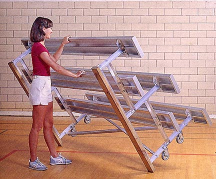 15 Tip N Roll Portable Indoor  Outdoor Bleachers 3 Rows