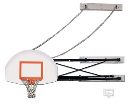 "Four-Point Wall Mount Basketball System with 35"" x 54"" Steel Fan-Shaped Backboard and 2-3' Foot Extension"