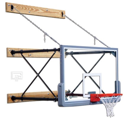 "Fold-Up Wall Mount Basketball System with 42"" x 72"" Glass Backboard and 4-6' Foot Extension"
