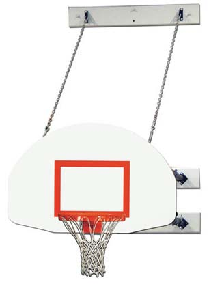 Fold-Up Wall Mount Basketball System with 6-9' Foot Extension and 1245T Backboard